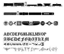 Sample of various Railroad Fonts